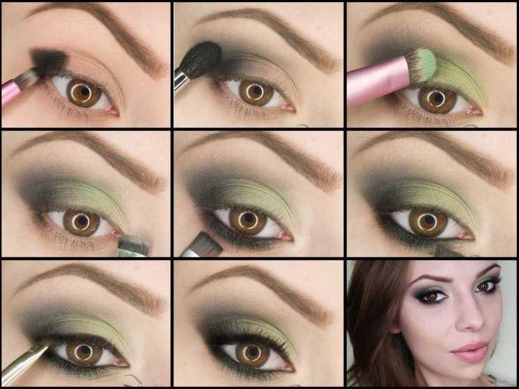 Сочетание зеленого и розового в макияже